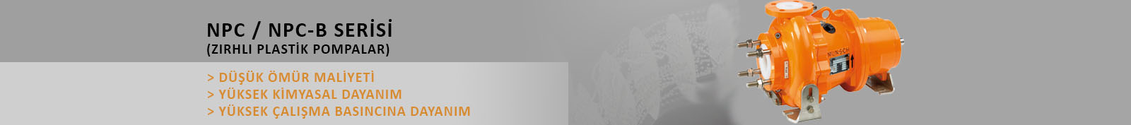 NPC/NPC-B Serisi Metal Kaplı Yatay Plastik Asit Pompası